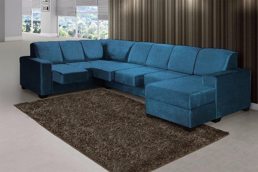 Sofá De Canto Azul Retrátil - Shopping Hm *não - R$ 2.599 ...