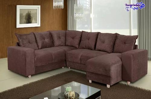 sofá de canto com chaise 6 lugares 5070 suede sp/litoral