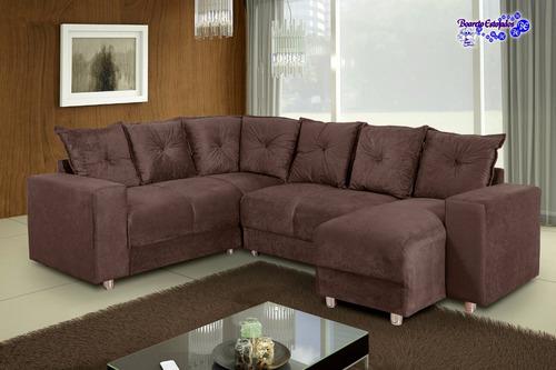 sofá de canto com chaise 6 lugares 5070 tecido suede luxo