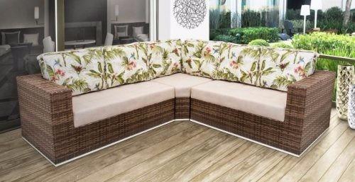 Sofa De Canto Em Fibra Sintetica Para Sala, Jardim, Recepção