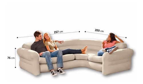 sofá de canto inflável intex aveludado 4 lugares - 400kg