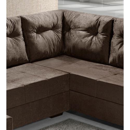 sofá de canto l.r. 4 lugares e chaise chocolate marrom