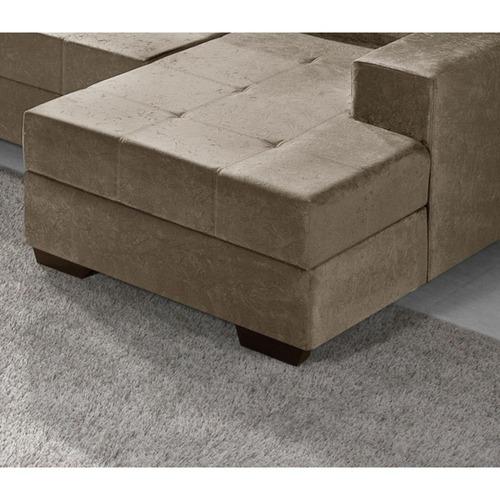 sofá de canto l.r. paris 4 lugares e chaise suede bege
