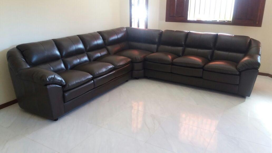 Sofa De Couro Completo | Dallas 3 E 3 Lugares + Canto - R ...