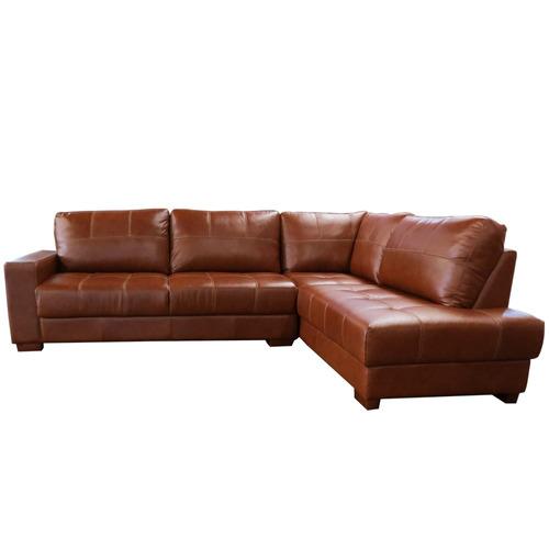 sofá de couro de canto marrocos - 3 lug /  chaise direita