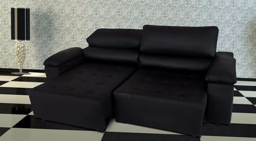 sofa de couro retratil e reclinavel 2 mod. san marino 1,90m