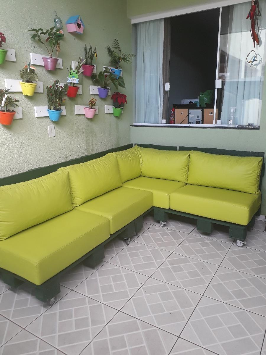 Sofa De Jardim De Pallet C Assentos Em Espuma Seminovo R 1 300
