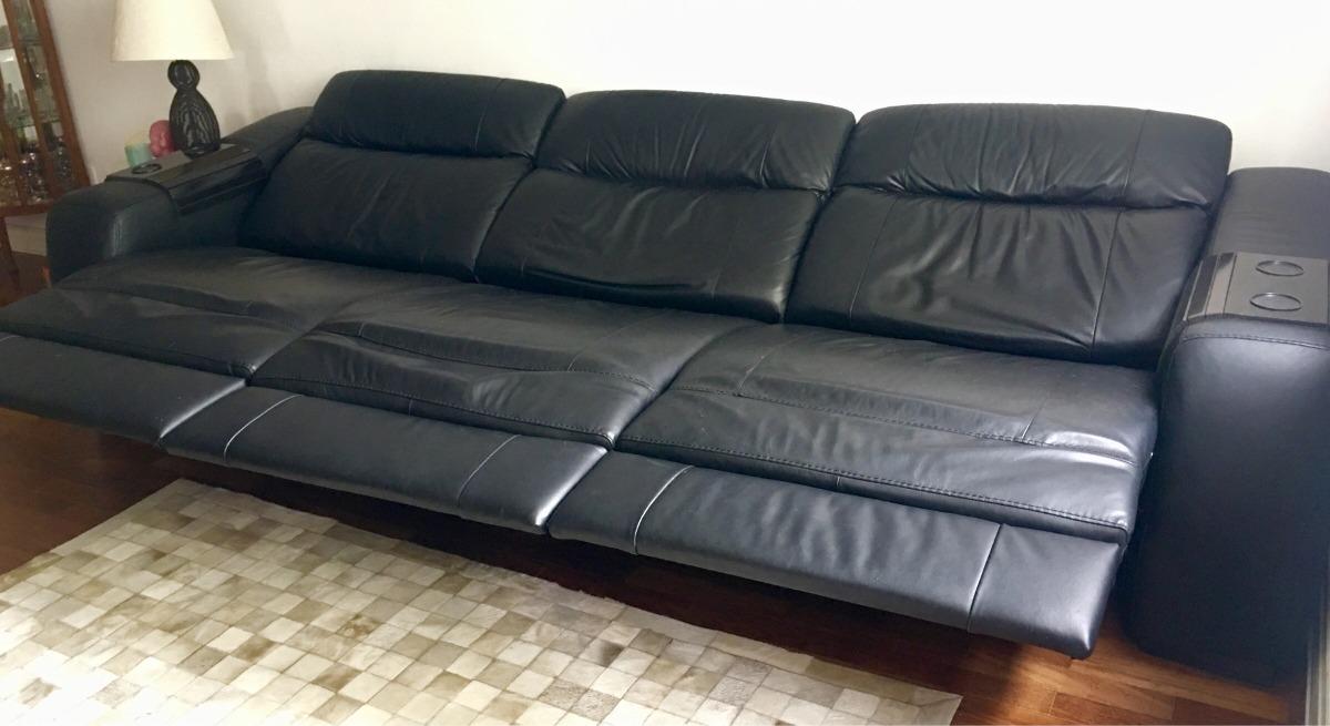 Sofa Em Couro Preto Retr 225 Til E Reclin 225 Vel Autom 225 Tico 3