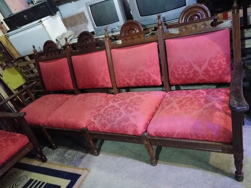 sofá em madeira maciça antigo 4 e 2 lugares
