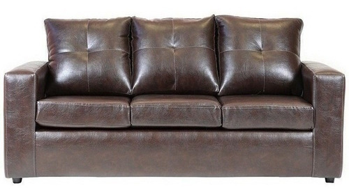sofá emilia 3 cuerpos pu café / muebles américa