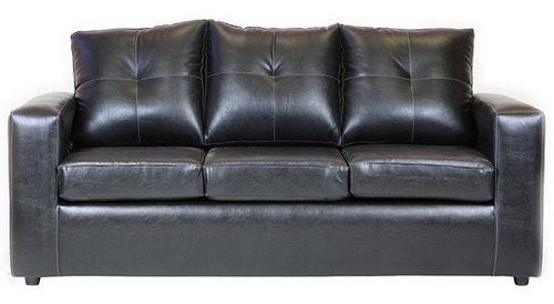 sofá emilia 3 cuerpos pu negro / muebles américa