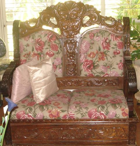 sofá estilo colonial rústico de madeira maciça