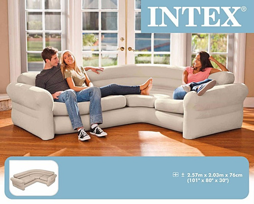sofá inflável intex aveludado 4 lugares 400kg sala c/ bomba