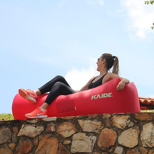 sofá inflável kaide - vermelho