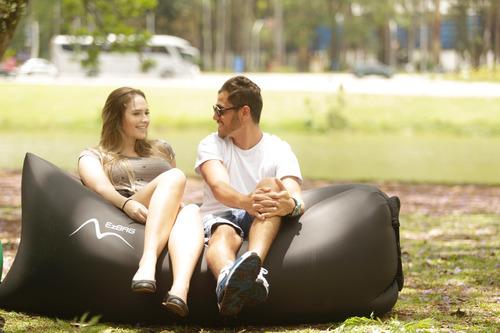 sofá inflável para praia e camping marca ezbag - preto