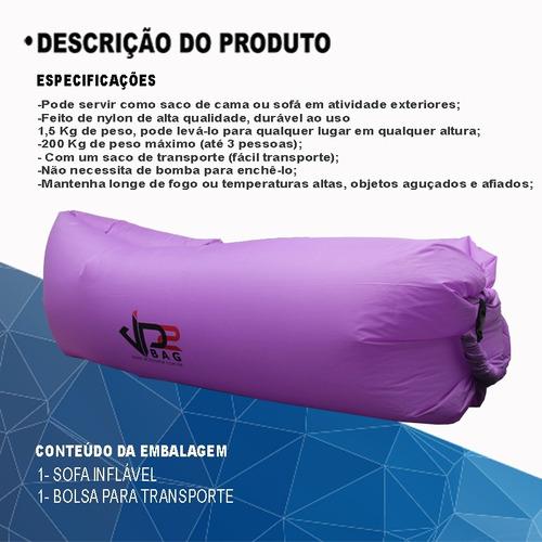 sofá inflável puff saco de dormir camping praia portátil max