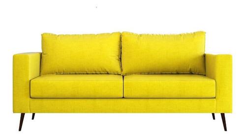 sofá lesh 3 lugares pé palito encosto macio solta corano
