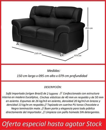 sofa - living -  2 cuerpos tapizado en simil cuero pu