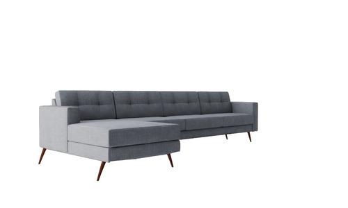 sofá living chaise chess pe com base de madeira ou palito
