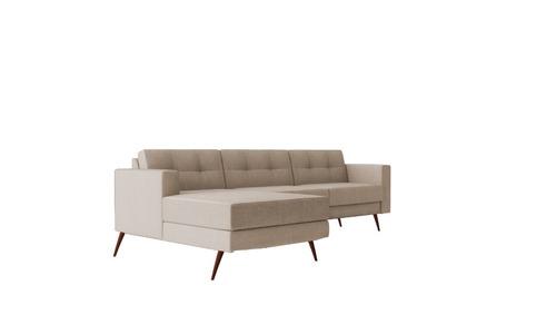 sofá living pé palito ou pé com base de madeira chaise 3 lug