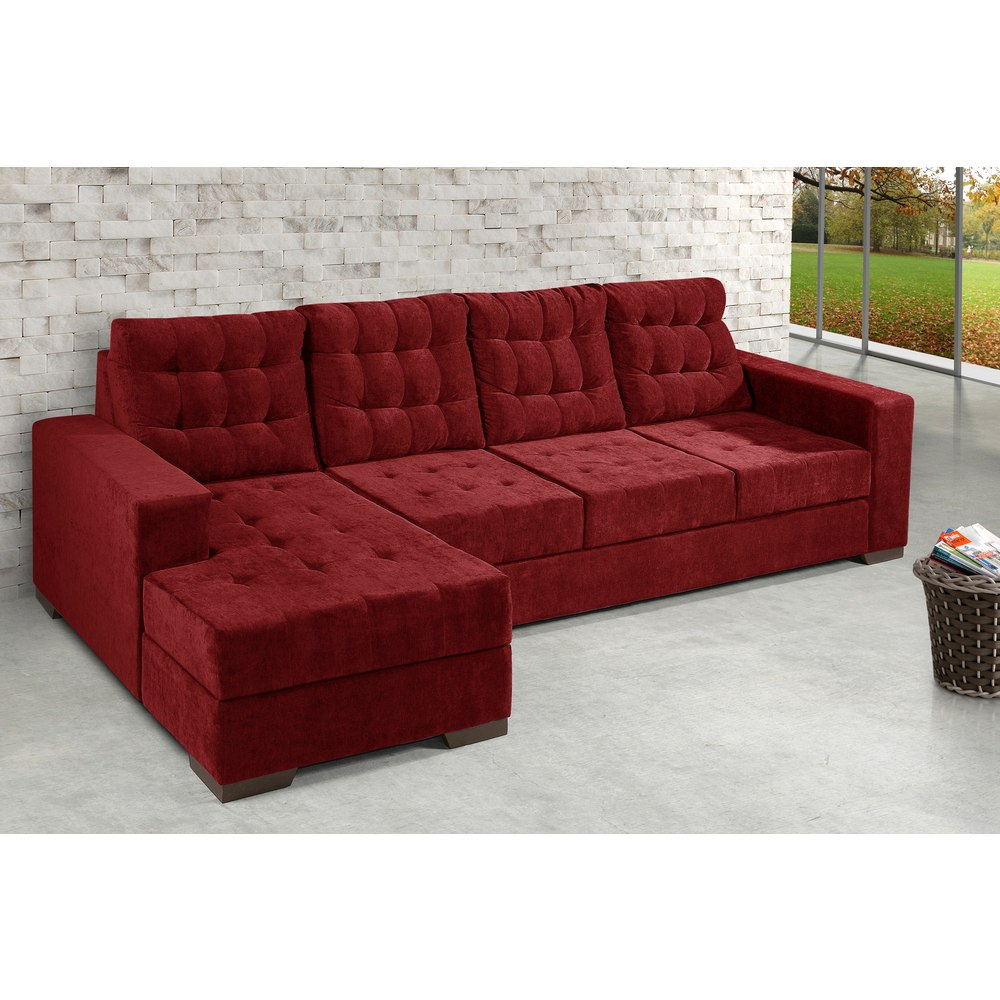 Sofa V I Mini: Sofá Marrocos 3 Lugares Com Chaise Premium Em Tecido Suede