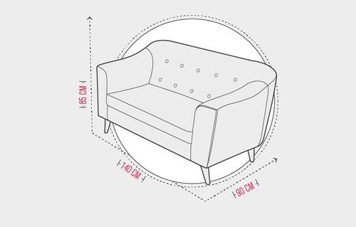 sofá moderno de 2 puestos con patas en madera - orión