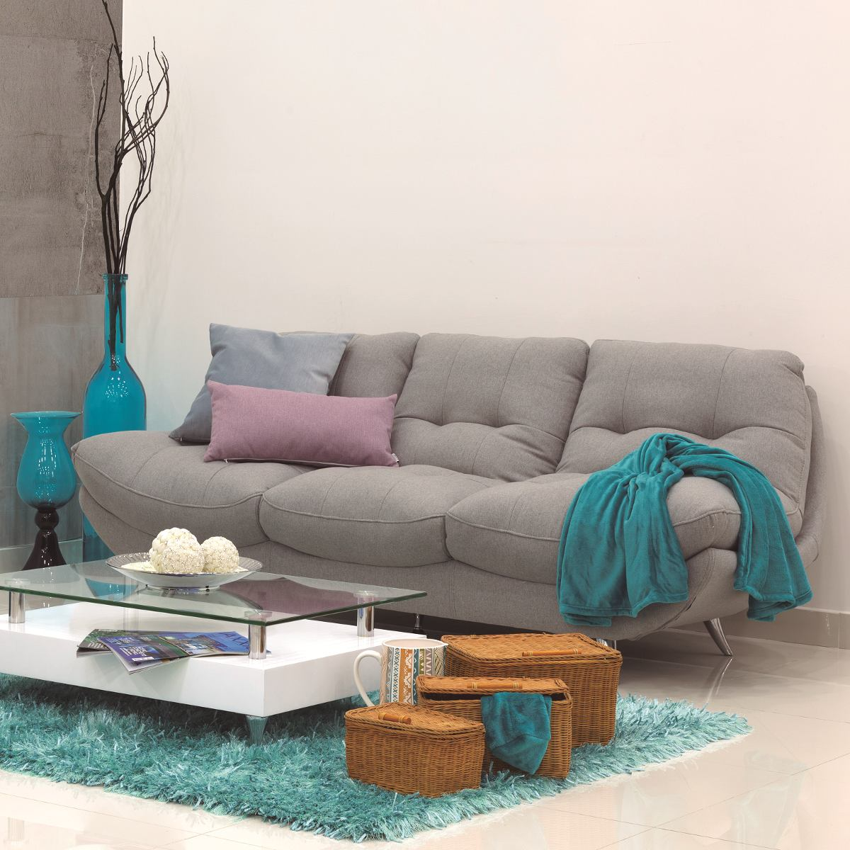 Sof moderno de 3 ptos para sala en tela o ecocuero atenas en mercado libre - Sofas de tela ...