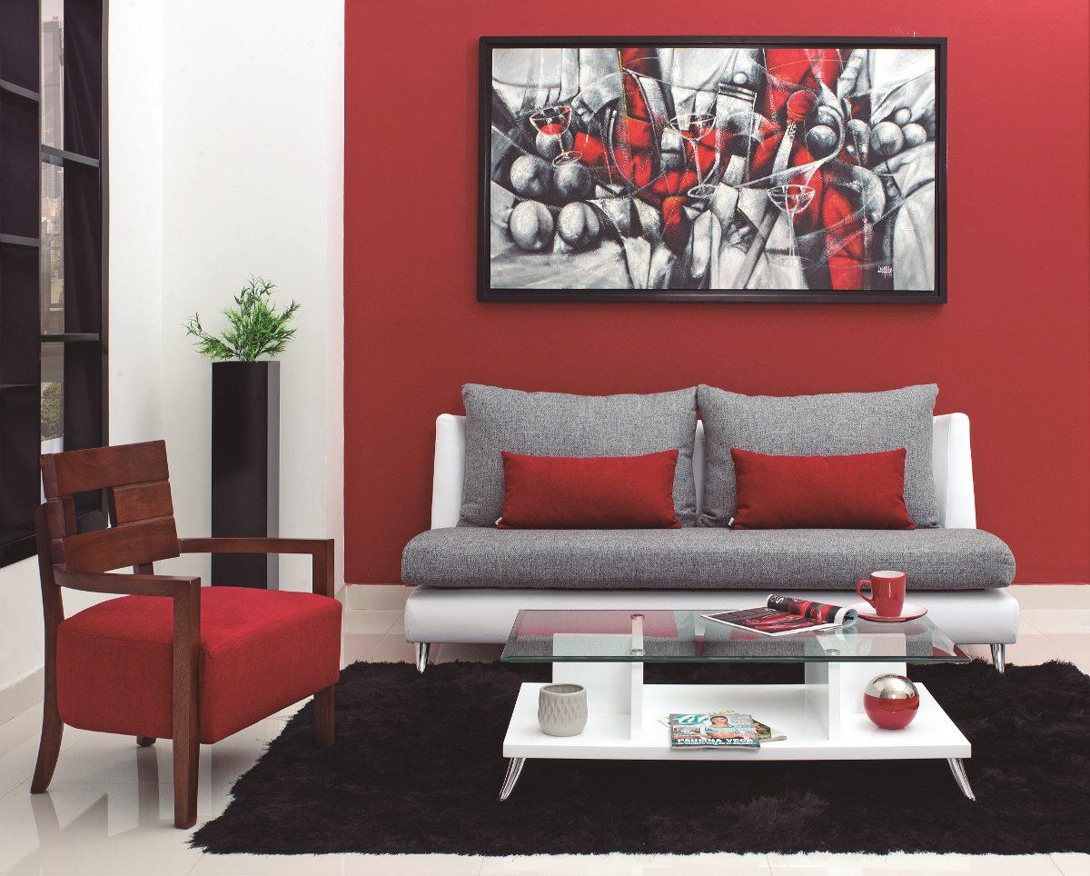 Sof moderno de 3 puestos tapizado ecocuero y tela verona for Sofa tapizado moderno