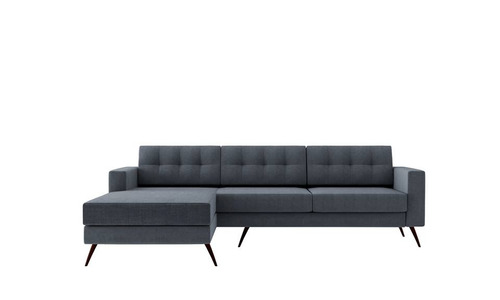 sofá moderno living chaise chess pés base palito 3 lugares
