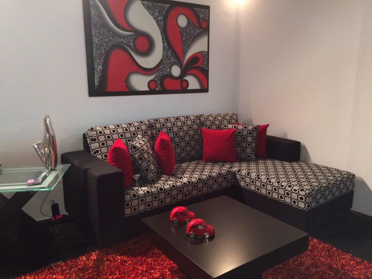 Sof modular tipo l de lujo mueble en telas o semicuero - Tipos de telas para sofas ...