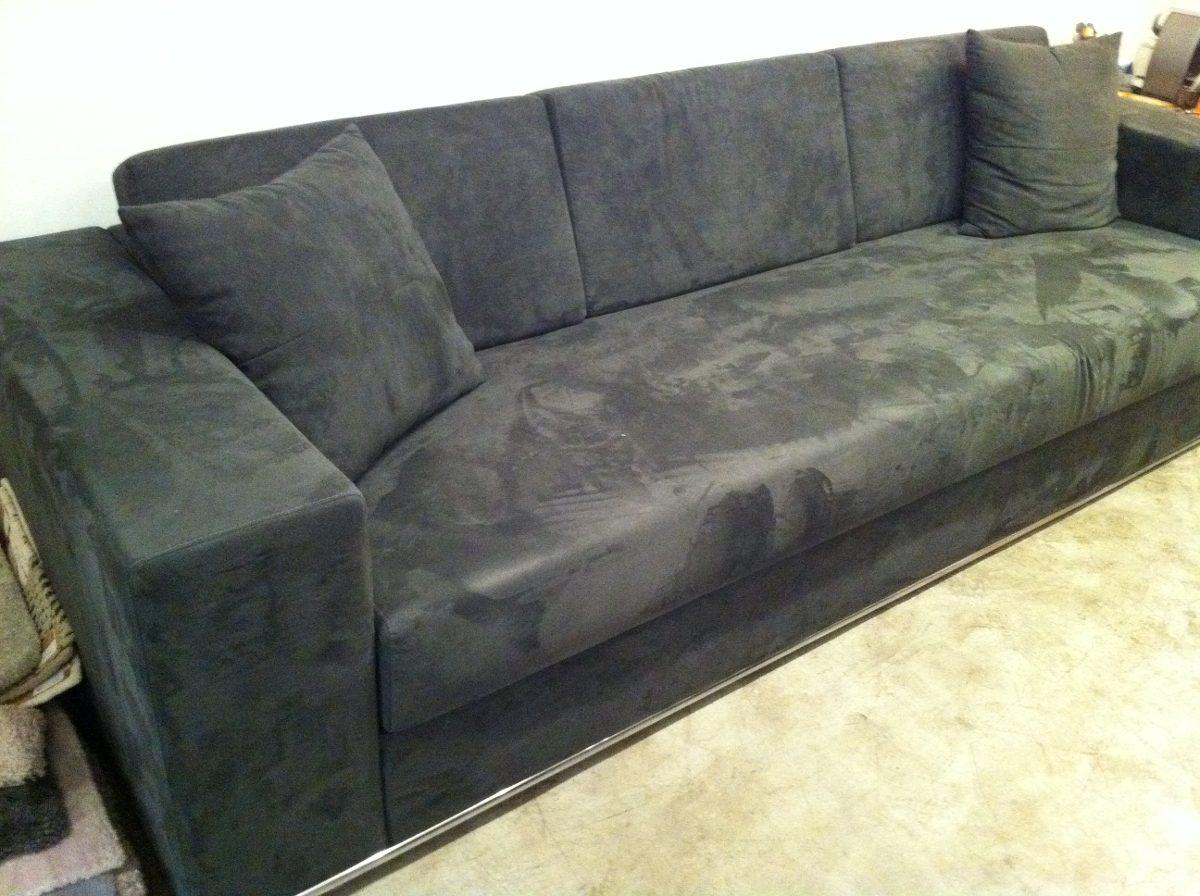 Sofa Novo 290x100 Em Tecido Suede Camur A Grafite R 5