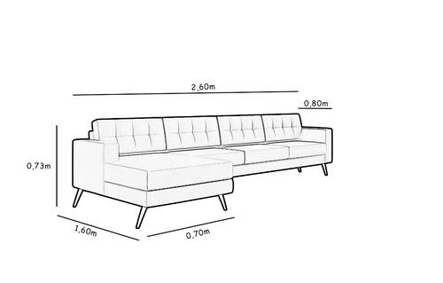sofá novo moderno living chaise pé palito 4 lugare cru palha