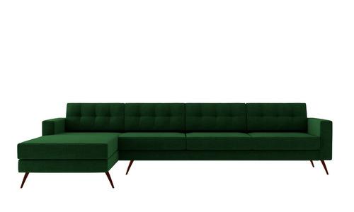 sofá novo moderno living chaise pé palito 4 lugares verde