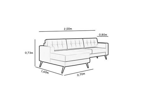 sofá novo pé palito aluminio com base living chaise 2 ou 3