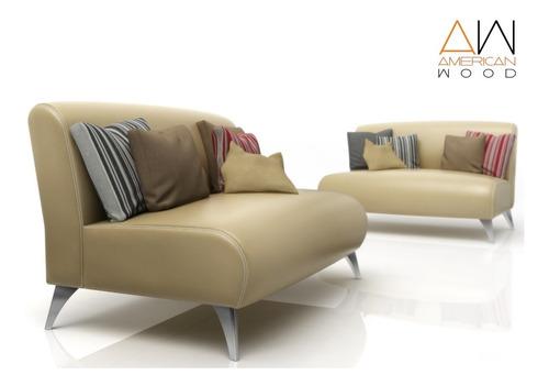 sofa paris american wood  2 cuerpos patas cromadas