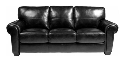 sofá patagón 3 cuerpos - cuero pu negro