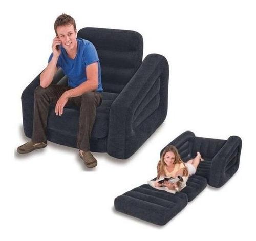 sofá poltrona inflável colchão cama luxo 2 em 1 - intex