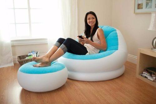 sofá puff con descansador original intex infla-ble 68572