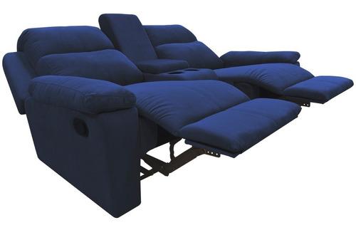 sofá reclinable 2 puestos + conector usb marsella tela