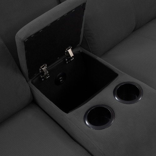 sofá reclinable 2 puestos + consola usb marsella tela