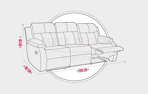 sofa reclinable manual moderno  atlanta 3 puestos