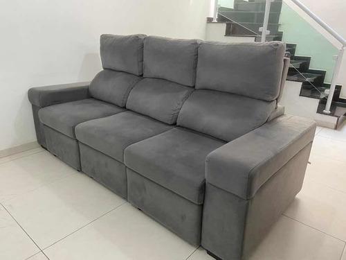 sofá reclinável em suede - cinza