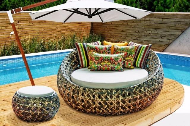 Sofa redondo de 1 50m com puff para piscina jardim sala for Mobiliario piscina