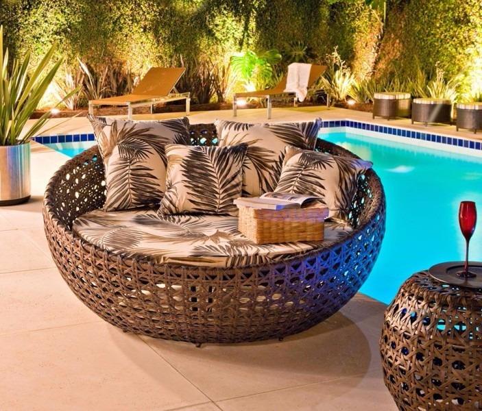 Sofa Redondo Para Piscina Sala Decoraç u00e3o Jardim Area Externa R$ 2 610,00 em Mercado Livre # Decoracao De Area Externa Com Piscina