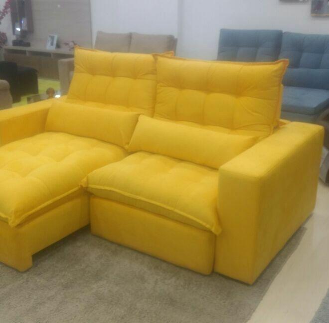 sofa retr til 2 50 largura amarelo super promo o r em mercado livre. Black Bedroom Furniture Sets. Home Design Ideas