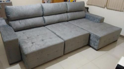 sofá retrátil com encostos reclináveis tecido suede.