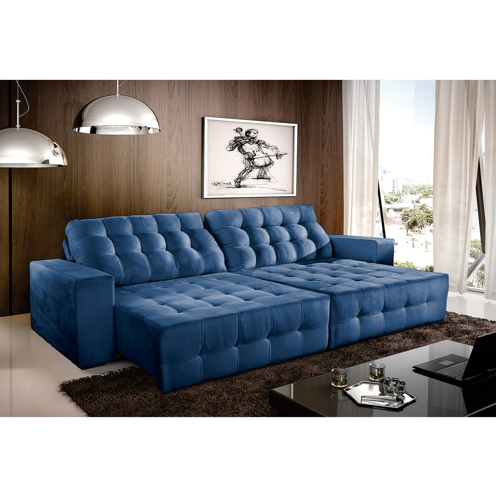Sofa Retratil E Reclinavel 3 Lugares 2 90 Suede Azul Vivan R