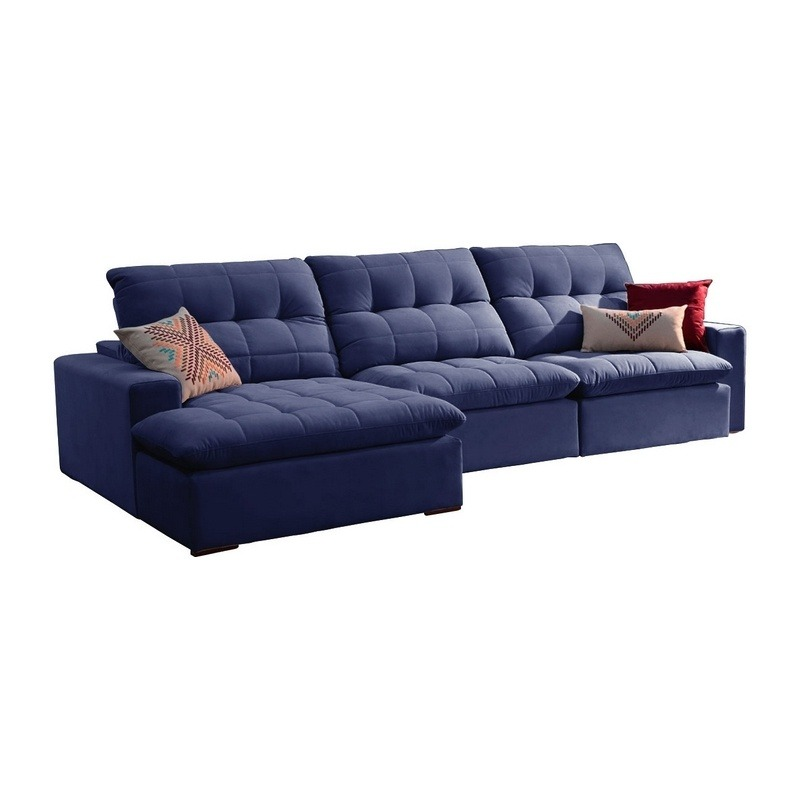 Sofa Retratil E Reclinavel 3 Lugares Azul Com Chaise Octans R