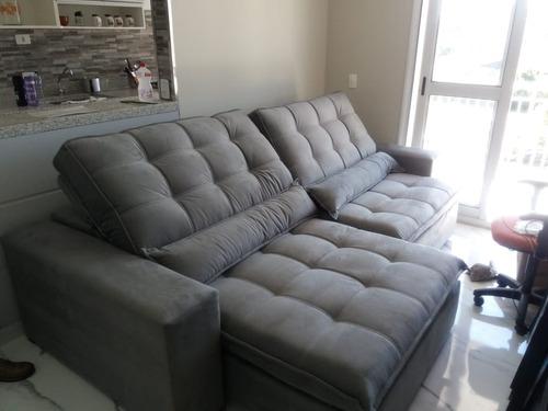 sofá retrátil e reclinável taurus c/ pillow top  2,30 metros