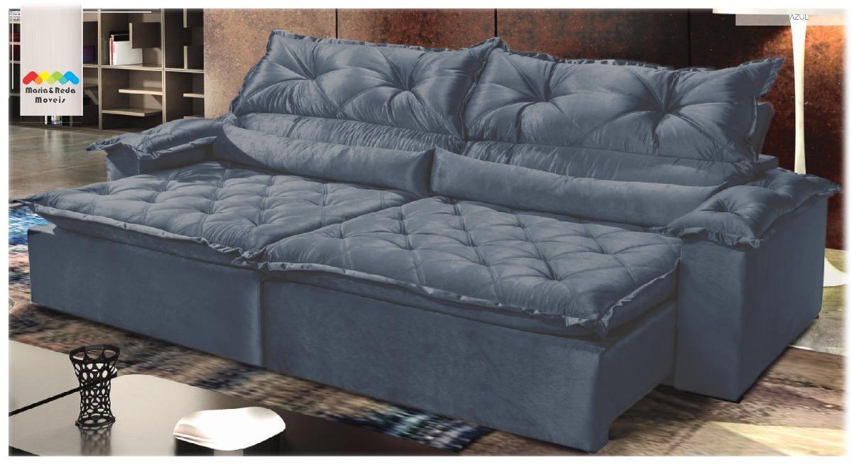 eae5afa82 sofá retrátil reclinável 4lugares agatha azul. Carregando zoom.